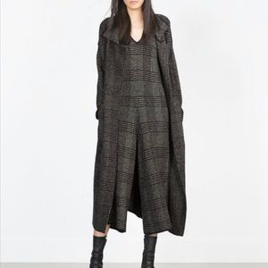 Zara | Knit Plaid Sweater Coat Blogger Favorite
